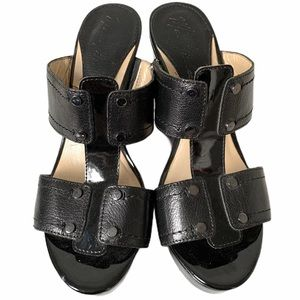 Marc Fisher Febe Patent Leather Wedge Sandals 7.5